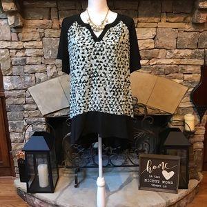 New Vision Leopard Print Short Sleeve Blouse